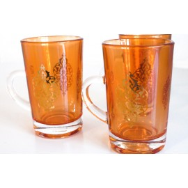 Dimlaj Orange Glass Cup Set