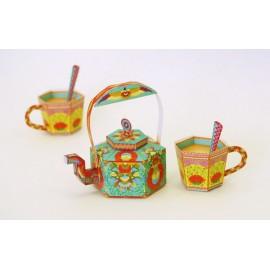 Printed Paper DIY Tea Kettle & Chai Cups