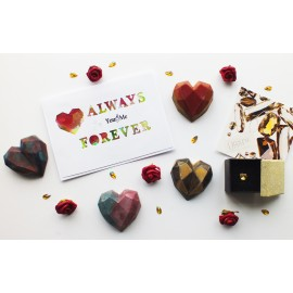 Valentine's Gift Set - Heart chocolate, Swarovski Element Pendant & card